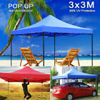 3X3m Pop-up Waterproof Outdoor Garden Gazebo Foldable Party Tent Marquee Canopy