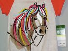 John Deere girl's top off white w/ornge sleeves & multi colored horse head