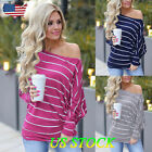 Womens One Off Shoulder Baggy Ladies Tops Loose Blouse Striped Pullover Jumper