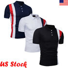 New Mens Pol Shirt Short Sleeve Plain Top Tee Designer Style Fit T Shirt Blouse image