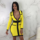 Women Zip V Neck Slim Bandage Bodycon Long Sleeve Club Evening Party Mini Dress