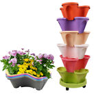 Vertical 6-Tier Strawberry Herb Garden Planter Flower Stackable Pots w/ Saucer