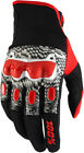 100% Mens Black/White/Red Derestricted Dirt Bike Gloves
