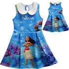Dress For Girls Moana Cosplay Costume Blue Round Collar Sleeveless Halloween