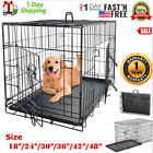 Extra Large Dog Crate Kennel 48 42 36 30 24 Folding Pet Cage Metal 2 Doors