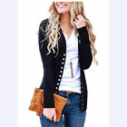 SEXY Women Low Cut V-Neck Long Sleeve Knit Snap Button Down Cardigan Sweater Top