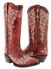Womens Red Leather Western Cowboy Boots Rhinestones Rodeo Cowgirl New