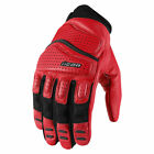 Icon Mens Red/Black Leather Superduty 2 Motorcycle Gloves