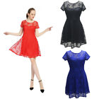 Women's Vintage Floral Hollow Lace Cocktail Formal Swing Bridesmaid Party Dress