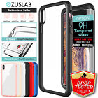 iPhone X XS Max XR Case ZUSLAB Clear Heavy Duty Shockproof Slim Cover + GLASS SP