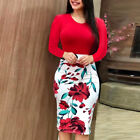 Plus Size Womens Long Short Sleeve Floral Boho Party Bodycon Maxi Dress Clothing