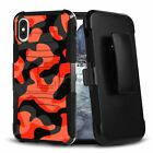 URBAN CAMO Orange Hybrid Belt Clip Case for iPhone 12 11 XS MAX XR 8 7 6 Series