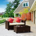 2PC Outdoor Patio Rattan Loveseat Wicker Bistro Sofa Furniture Set with Table