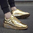 LLL Fashion mens luxury gold sports shoes lace-up trainers shoes size breathable
