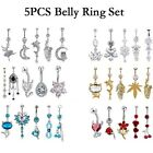 14G Unique Dangle Belly Button Ring Lot Body Piercing Navel Barbell Jewelry image