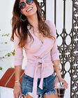 Women's Sexy Wrap V Neck Long Sleeve Knitted Tops Slim Fit Sweater Jumper Blouse