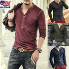 Men's Casual Top Blouse Slim Fit Long Sleeve T-Shirt Button V-Neck Shirts Tee US image
