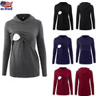 Women Maternity Clothes Breastfeeding Nursing Tops Hoodies Long Sleeve Blouse US
