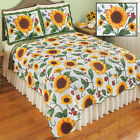 Reversible Sunflower Scalloped Edge Quilt Bedding Set Shams Twin Full Queen King image
