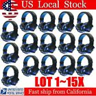 LOT 1~15X Blue Game Headset Surround Stereo Headband Headphone USB 3.5mm LED BE