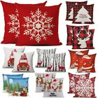 2pc Christmas Throw Pillow Covers Cases Pillowcase for Couch Sofa Snowman Santa image