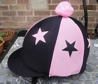 Riding Hat Silk Skull cap Cover BLACK & BABY PINK * STARS With OR w/o Pompom