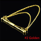 Fashion Men Party Wedding Bowknot Brooch Collar Tip Clip Chain Gold Silver Palte