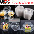 100/400pcs Clear Plastic Cupcake Cake Dome Favor Box Container for Wedding Party