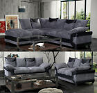 Dino Corner Sofa In Black-grey Or Brown-beige With A Footstool 3 + 2 Seater Sofa