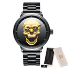 BIDEN Unique Skull Dial Men Waterproof Stainless Steel Quartz Wrist Watch Wristwatches - 31387