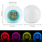Multi-color LED Change Digital Glowing Alarm Clock Night Light For Kids Gift QH