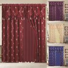Window Curtain Blue Gold Linda Collection 2 PCS Set with Valance Luxury Curtain