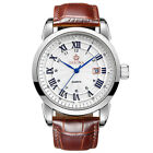 Classic Men's Wrist Watch Quartz Date Leather Strap & Blue Arrows WristwatchWristwatches - 31387