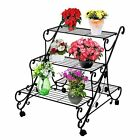 Plant Stand with Wheels Multi Flower Pot Outdoor Patio Home Decor Design Shelves