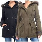 Womens Allure Military Faux Fur Fishtail Quilted Parka Winter Jacket Coat 8-24