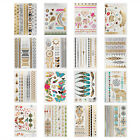12/16PCS Temporary Metallic Tattoo Stickers Gold Silver Body Makeup Bar Party US