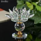 Crystal Glass Block Lotus Flower Metal Candle Holders Big Tealight Candle Stand
