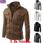 UK Men Winter Warm Zip Up Jacket Outwear Casual Hoodie Coat Top Sweatshirt New