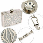 Ladies Glossy Shimmery Metal Clutch Women Prom Party Purse Black Silver Hand Bag