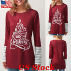 Womens Christmas Casual Loose Blouse T-shirt Splicing Tops Long Sleeve Pullover
