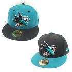 New Era NHL San Jose Sharks 2Tone Aqua Teal Black Visor Fitted Hat Cap