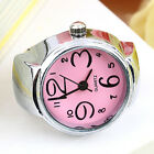 Womens Girls Fancy Exclusive Steel Round Elastic Quartz Finger Ring Watch New image