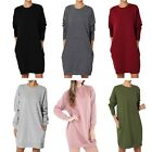 Elegant Ladies Casual Oversized Crew Neck Loose Pullover Tunic Dress Sweatshirts