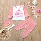 Toddler Infant Baby Girl Letter Princess T shirt Tops Pants Clothes Outfits Set