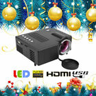 Multimedia HD 1080P Mini LED Projector Home Theater Cinema HDMI VGA AV USB SD LJ