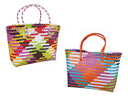 Hand Shopping Bag Reusable Multicolored Plastic With Handles Shopper Assorted