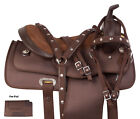 Brown Synthetic Cordura Barrel Trail Western Horse Saddle Tack Set Seat 14