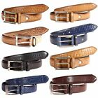 Mens 35mm Multi Pattern Leather Animal Skin Textured Pin Buckle Casual Belts