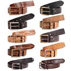 Mens 40mm Width Animal Skin Textured Genuine Leather Pin Buckle Casual Belts