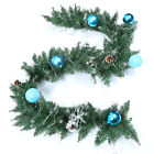 6/9ft Christmas Garland Decorated Garland With LED Lights Wired Swag Pine Rattan
